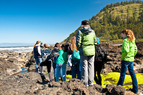 School group at the tidepools